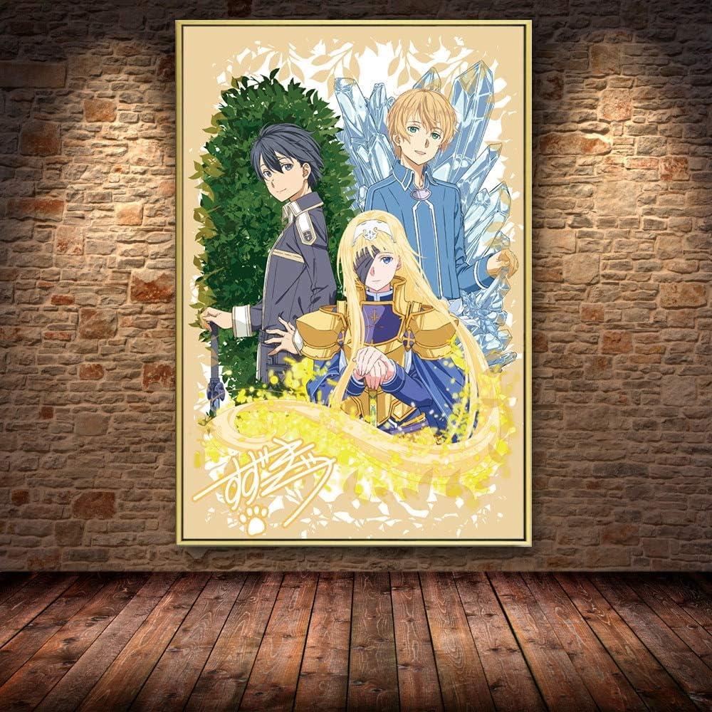 PLjVU Escuela de útiles Escolares Halloween-Carteles de Anime y Fotos de Dibujos Animados japoneses decoración del Arte de la habitación de los niños Pintura en Lienzo para el hogar-Sin marco60X90cm