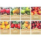 Heirloom Tomato Seeds Assortment - Eight Organic and Non-GMO Varieties: Brandywine, Roma, Green Zebra, Yellow Brandywine, Thr
