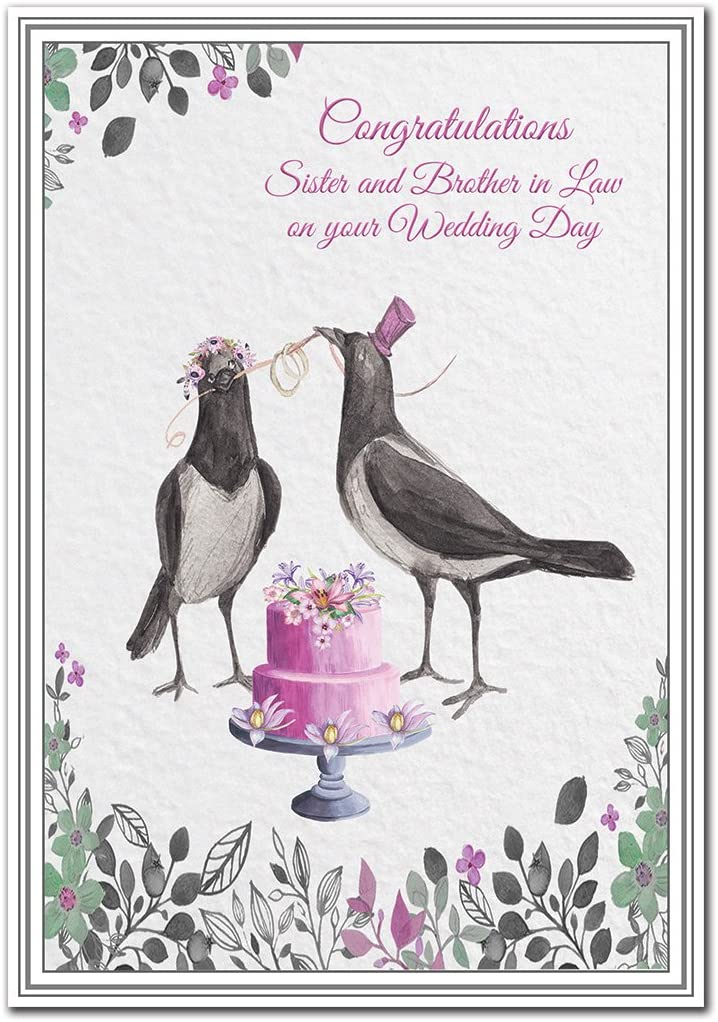 Magpies For Joy Unusual Mr And Mrs Image Unique Exclusive Design Brother And Sister In Law On Your Wedding Day Card Premium Quality Special Marriage Wishes Husband And Wife Wedding
