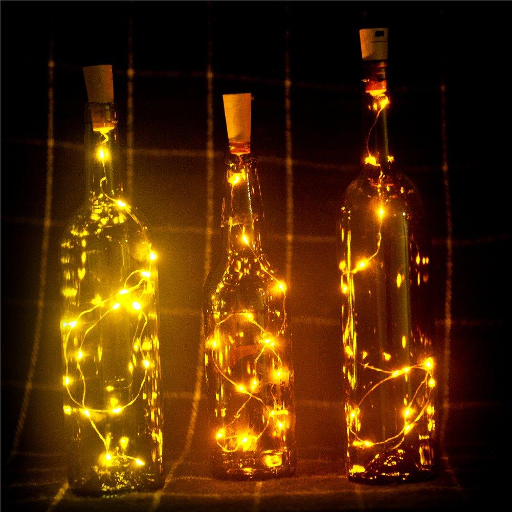 Bottle Light 3 Pack of Wine Bottle Cork Lights Copper Led Light Strips Wire Starry Rope L& Kit DIY with battery for Christmas Decor Wedding Party ... & Bottle Light 3 Pack of Wine Bottle Cork Lights Copper Led Light ...
