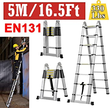 Escalera telescópica de aluminio con marco de escalera extensible, escalera compacta de 16.5 pies, escalera plegable de 330 libras de capacidad, fácil de mantener en RV/armario/gabinete: Amazon.es: Bricolaje y herramientas