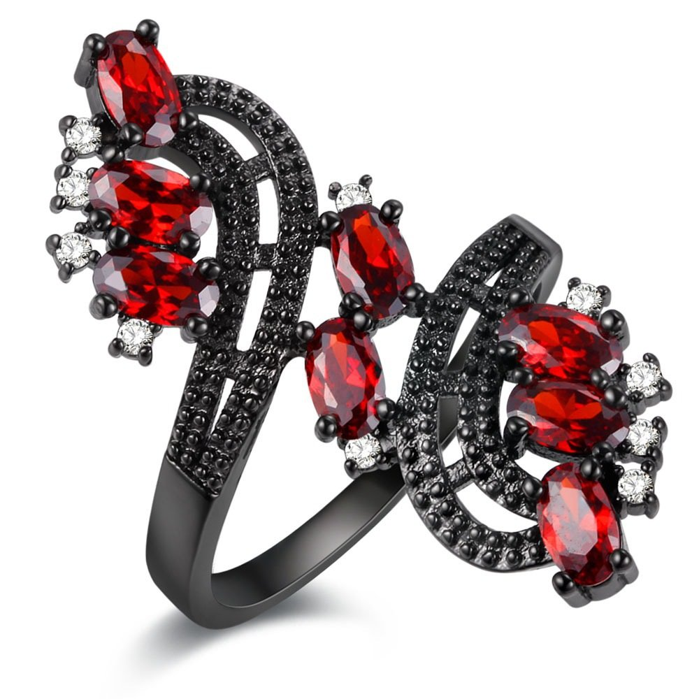 Uloveido Women's Punk Black Wedding Rings Oval and Round Cut Red White Cubic Zirconia Rhinestones Open Tail Anniversary Jewelry (Size 6 7 8 9) J656