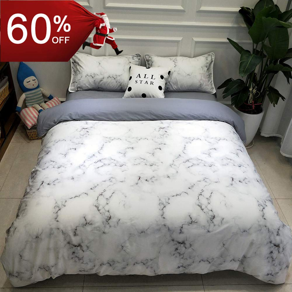 BuLuTu Marble Kids Duvet Cover Twin Cotton White,Minimalist Abstract Premium 3 Pieces Bedding Sets Twin Cotton,Modern Grey Nature Granite Print,Breathable,Soft,Gifts for Teen,Men,Women,NO Comforter