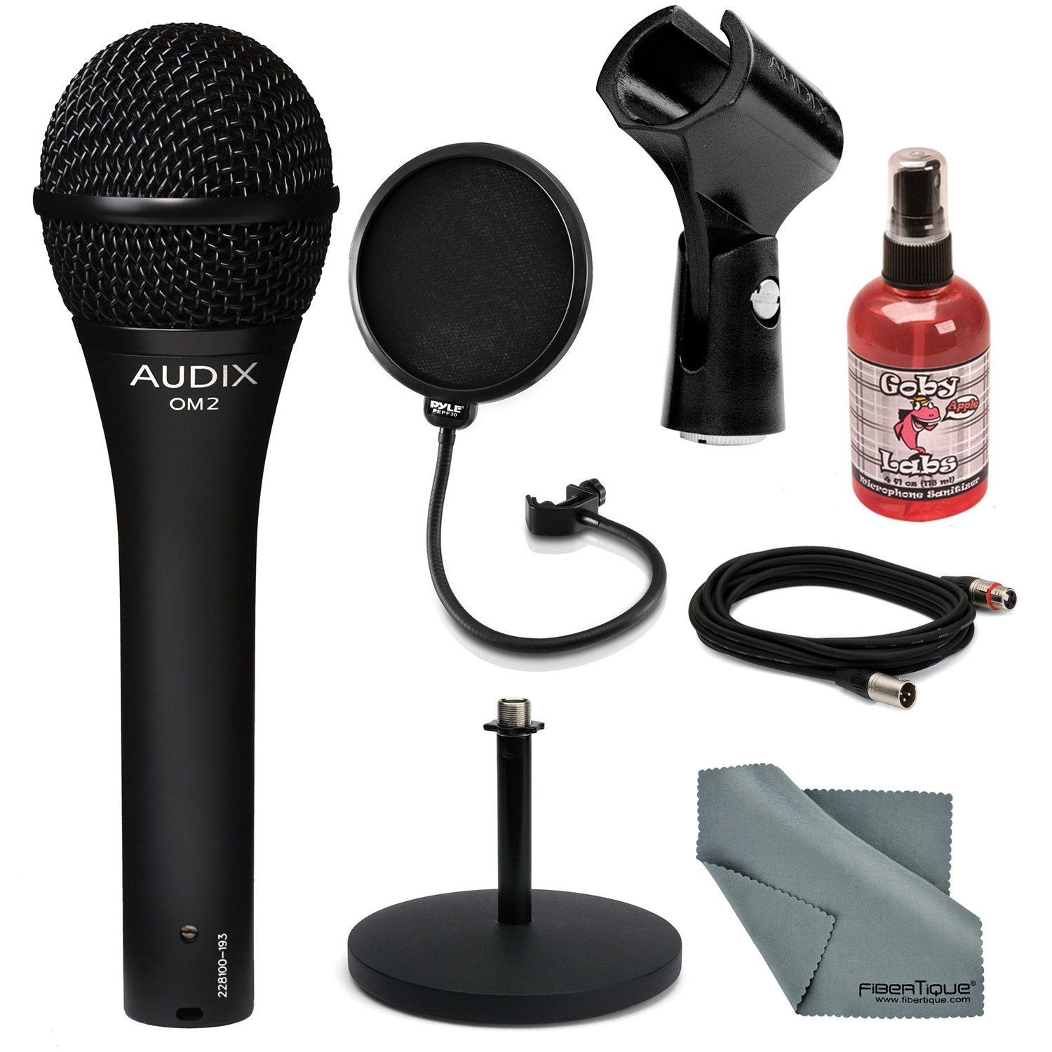 Audix OM-2 Handheld Dynamic Microphone Deluxe Bundle with Mic Stand + Pop Fillter + Cable + Mic Sanitizer + Fibertique Cleaning Cloth