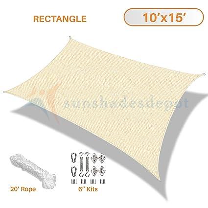 Amazon Com Sunshades Depot 10 X 15 Beige Sun Shade Sail 180 Gsm