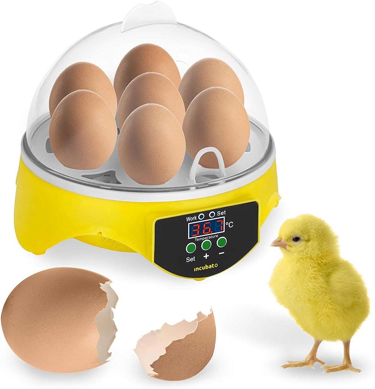 Mini Digital Incubadora de Capacidad de 7 Huevos Pollo Huevo Incubadora para Pollo Pato Máquina de Eclosión de Pájaro Incubación de Polluelos(Control de Temperatura Inteligente 20-50 °C)
