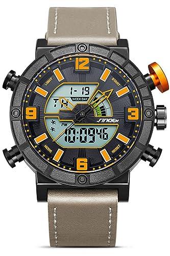 Para la práctica de deportes analógico reloj digital de piel de Casual cronógrafo electrónico relojes: Amazon.es: Relojes
