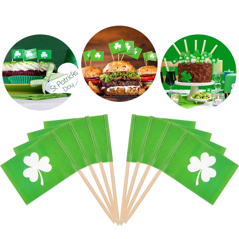 Zhanmai 300 Pezzi Bandiera di San Patrizio Scelte Irlandesi Decorazioni Bandiera Alimentare Scelte di Cibo di Trifoglio per Festa Fornitura