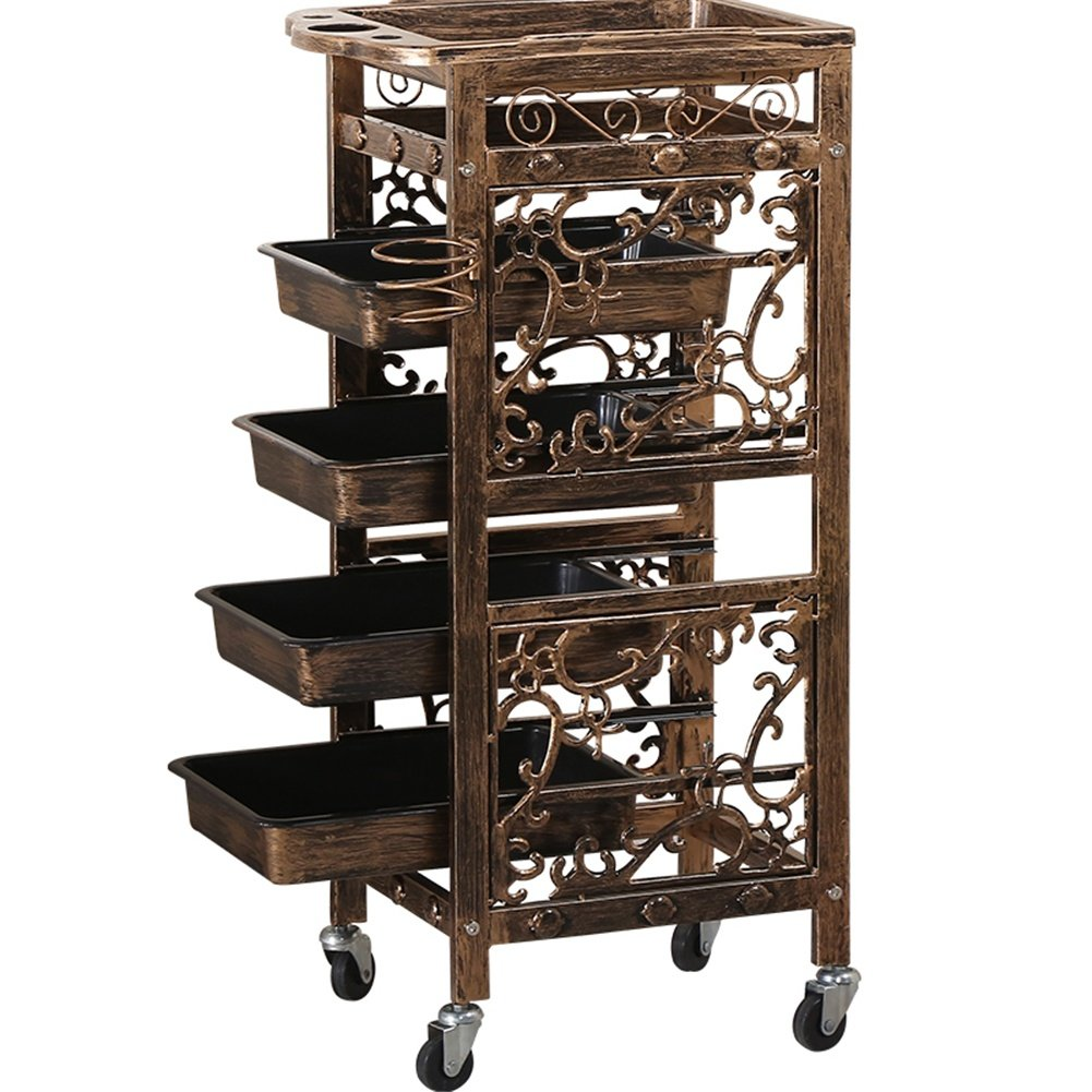 Hairdressing Trolley 5-Tier Storage Beauty Makeup Barber Cart Hair Coloring Spa Salon Cart with Top Tray 4 Drawers wexe.com