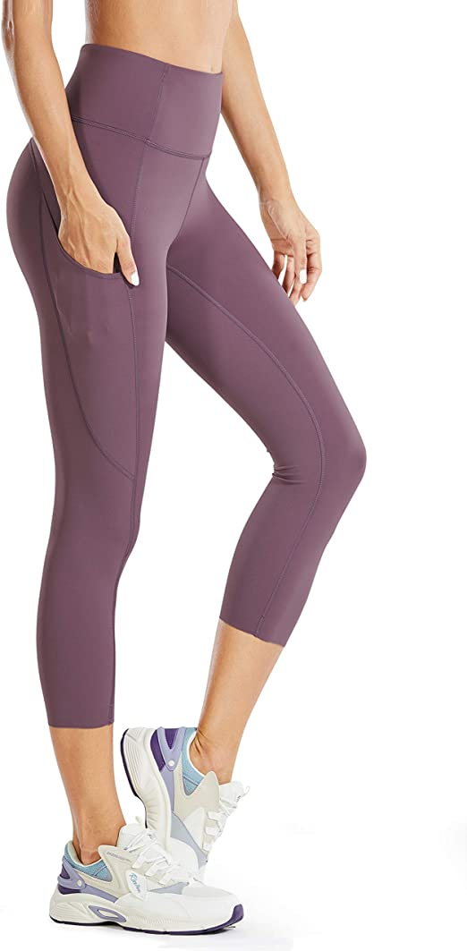 CRZ YOGA Womens Naked Feeling I High Waist Crop Tight Run Training Yoga Capri Leggings with Side Pocket-19 Inches