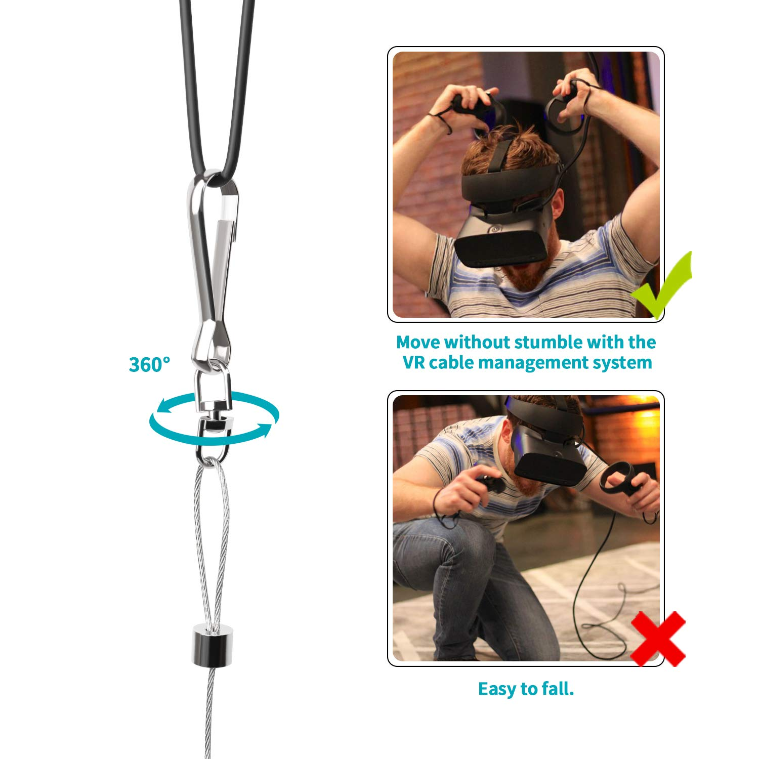 VeeR VR Cable Management Virtual Reality Wire Ceiling Pulley System for Oculus Rift S//Lenovo//Playstation VR//HTC Vive//HTC Vive Pro//Samsung Odyssey VR Accessories
