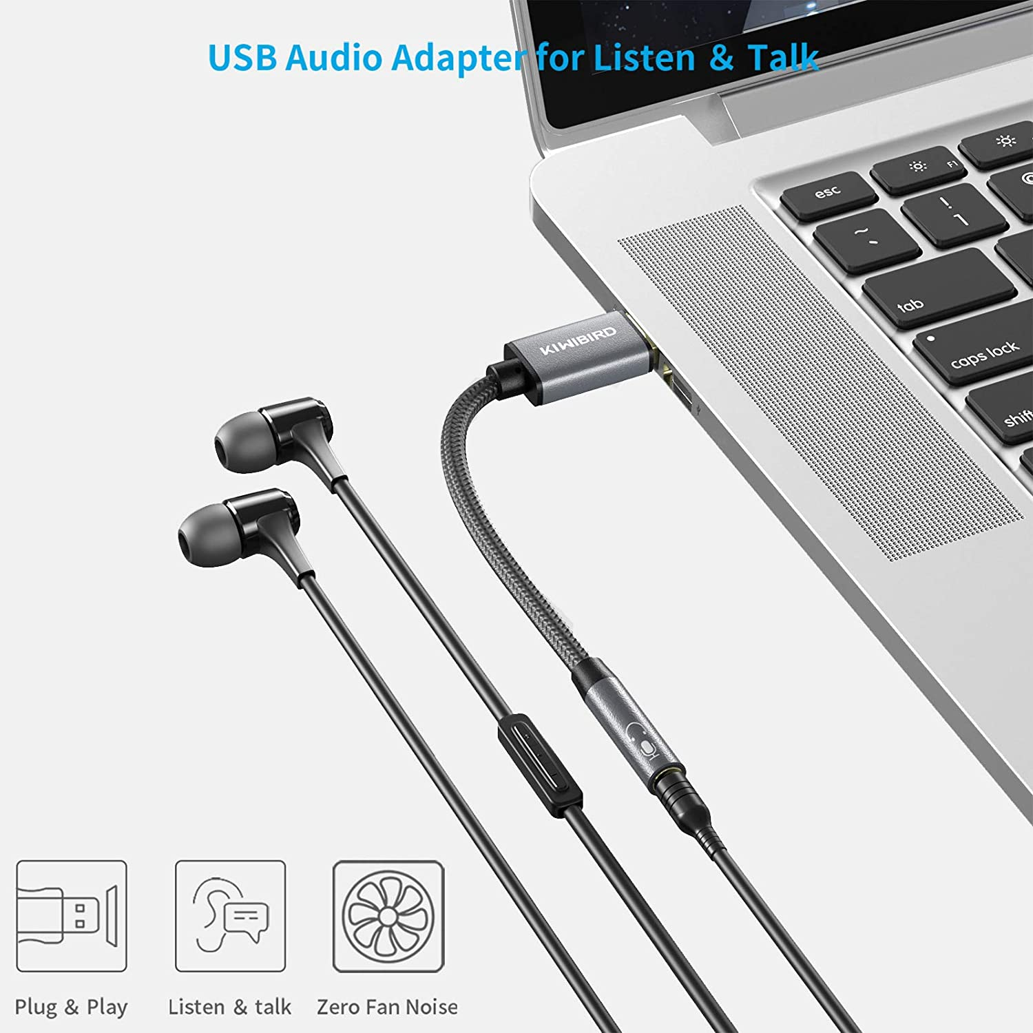 KiwiBird USB to 3.5mm Jack Audio Adapter Surface Projector PS3 External Sound Card for MacBook USB Headphone with Mic Headset Adapter NOT work with Car Laptop TRRS 4-pole TV PS4 Xbox
