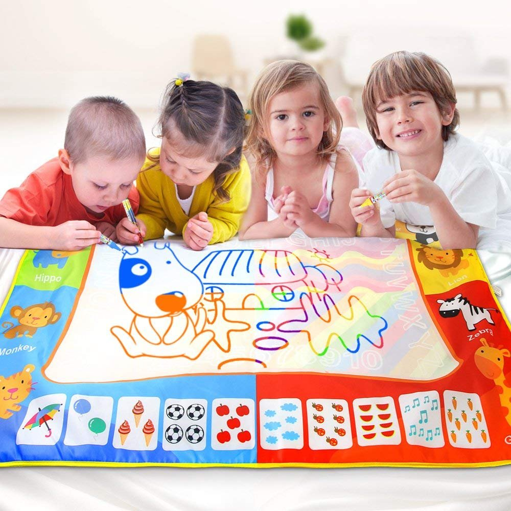 Jenilily Doodle Mat Water Drawing Pads Large Size 47 in x 35 in Perfect Educational Toy Learning Toy Boys Girls Gift with 3 Magic pens 1 Magic Brush 17 Molds