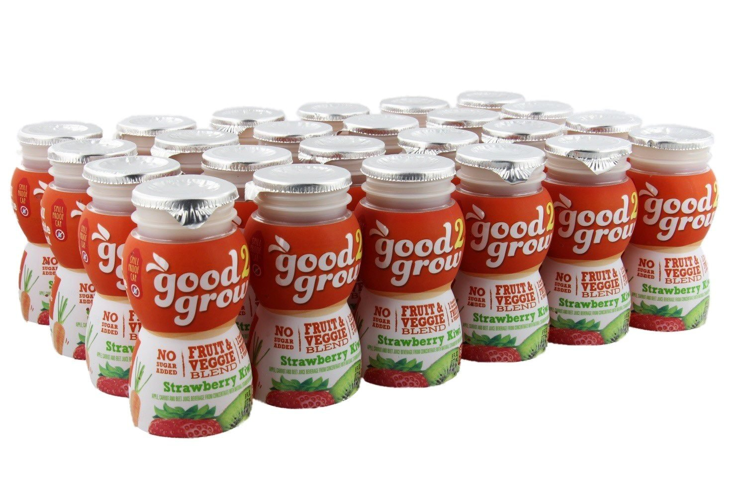 good2grow Fruit & Veggie Blend – Strawberry Kiwi 6oz Refill Drink Bottles Pack, 24 Count - No Sugar Added, An Excellent Source of Vitamin C - Use with Collectible Spill-Proof Topper Characters