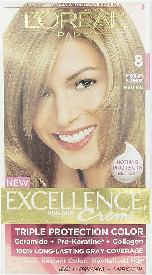 LOreal Paris Excellence Creme, 8 Medium Blonde, (Packaging May Vary)