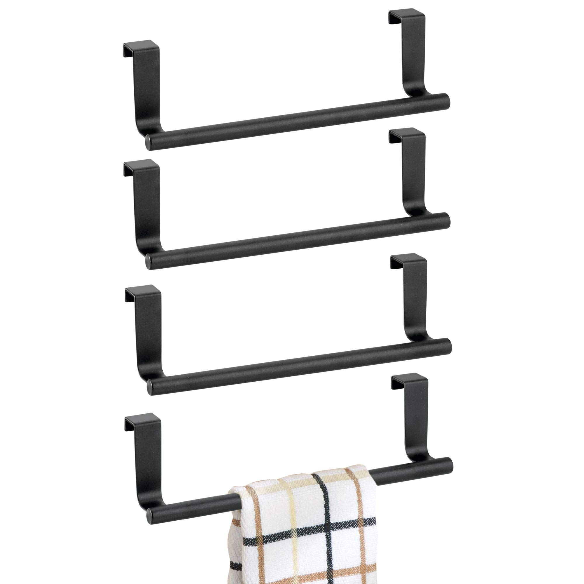 mDesign Decorative Kitchen Over Cabinet Stainless Steel Towel Bar - Hang on Inside or Outside of Doors, Storage and Display Rack for Hand, Dish, and Tea Towels - 9'' Wide, Pack of 4, Matte Black