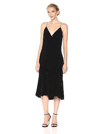 6401396e40e2 Vera Wang Women's Velvet Sequins Slip Dress with Flutter Skirt, Black, ...