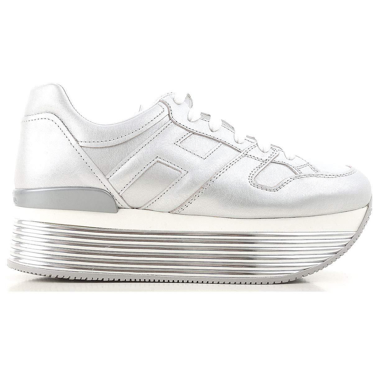 Hogan Maxi H222 Sneakers HXW3520T548I6EB200 Argento Donna -