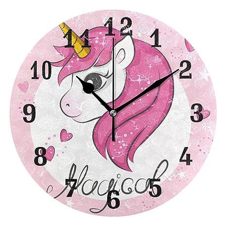 DOSHINE Reloj de Pared, diseño de Unicornio Valentino con corazón, silencioso, no golpea