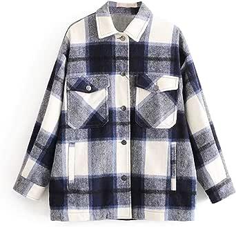 Womens Long Sleeve Plaid Warm Shirt Casual Jacket Coat Winter Loose Oversize Shirts