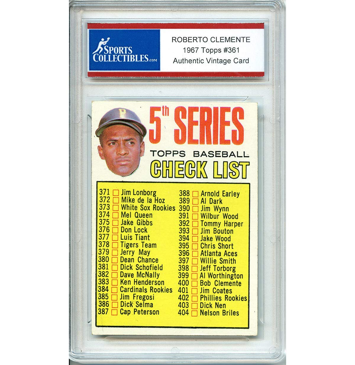 Roberto Clemente Unsigned 1967 Topps Checklist Authentic Vintage Card