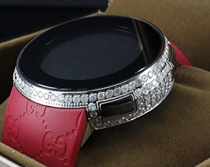 6ea836cdce3 Image Unavailable. Image not available for. Colour  I Gucci Real Diamond  Custom Red I-gucci Watch Iced Rubber Band 5 Carat Digital