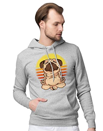 BLAK TEE Hombre Funny Pug Meditation and Yoga Capucha ...