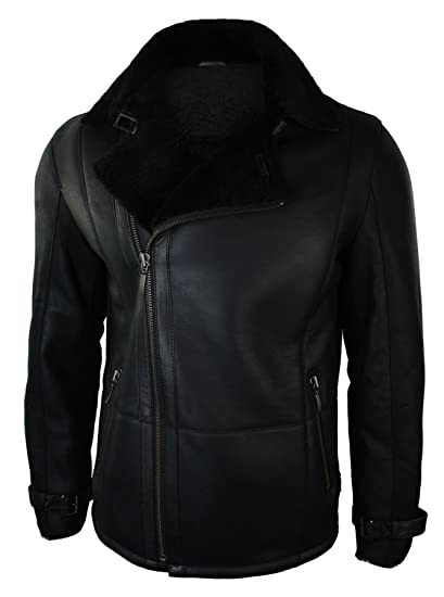 c05c6a56730 Mens Winter Real Sheepskin Black Mid Length Fitted Designer Jacket Cross Zip   Amazon.co.uk  Clothing