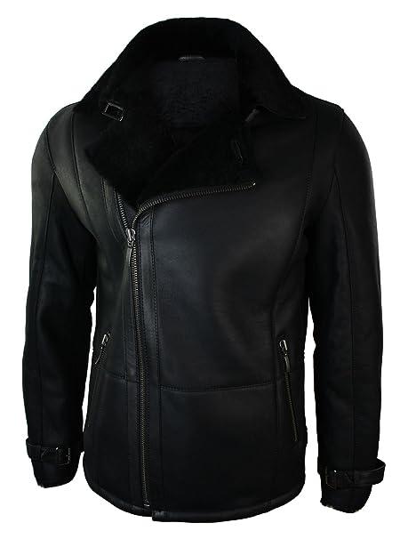 66e1ef0cfd59b5 Giacca Invernale da Uomo in Vera Pelle Nera di Montone e Pelliccia Interna  nero: Amazon.it: Abbigliamento