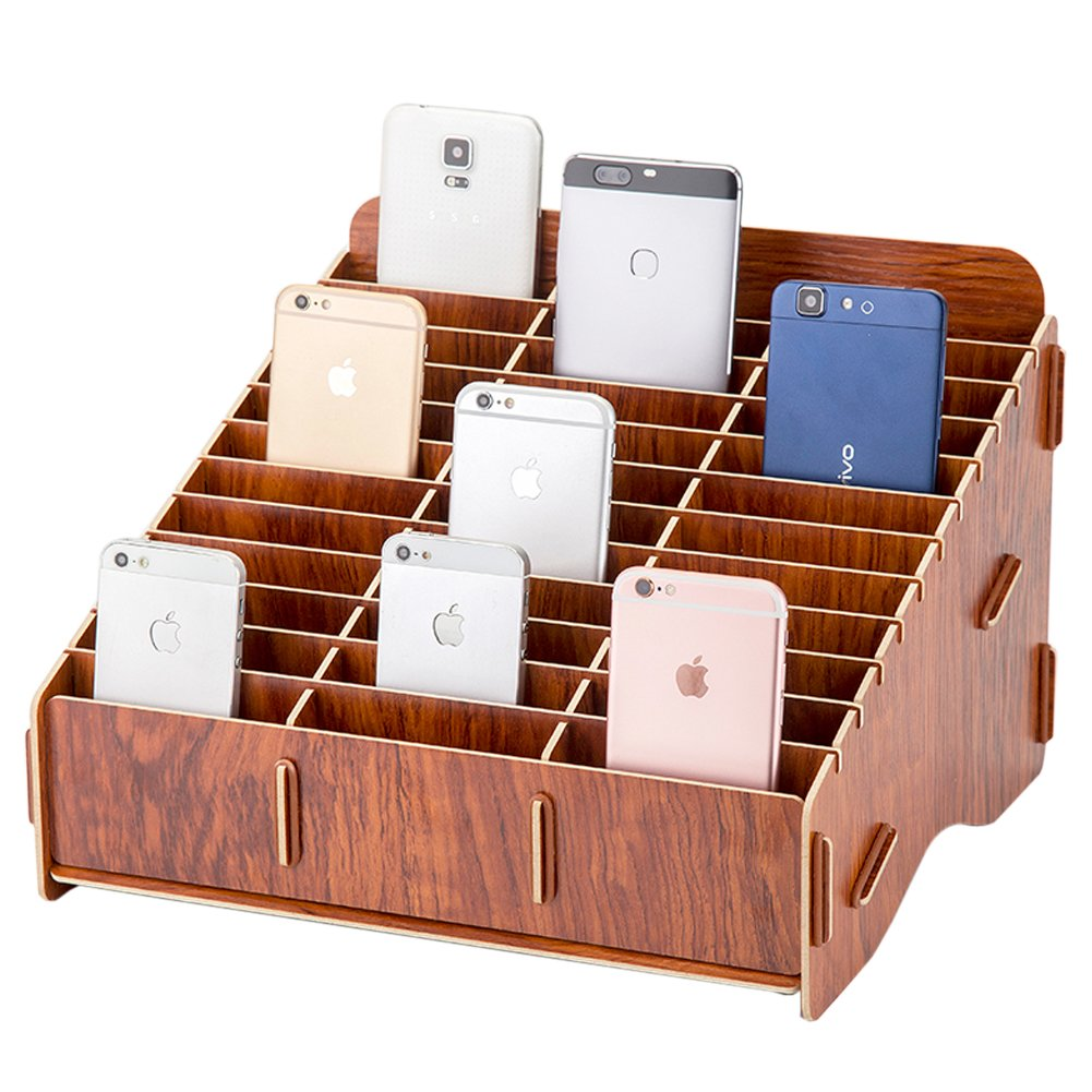 Loghot Wooden 36 Storage Compartments Multifunctional Storage Box for Cell Phones Holder Desk Supplies Organizer (Brown)