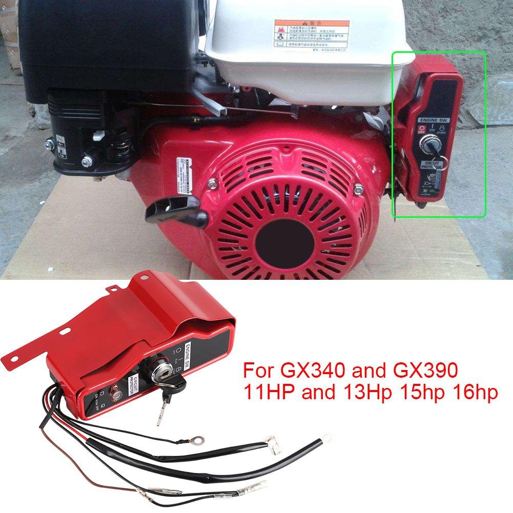 Zerodis Bo/îte de commutateur de cl/é de Contact allum/ée Arr/êt Commutateur darr/êt de Moteur /électrique avec 2 cl/és adapt/ées pour Le Moteur Honda GX340 GX390 11HP 13HP