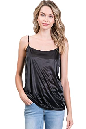 9e23ea0e0 Women Basic Satin Camisole Chemise Top - for Sheer Tops Tunics Sweaters  Sleepwear Nightgown (Black