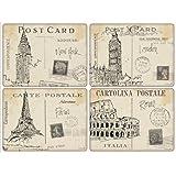 4 Premium Hardboard Pimpernel Placemats Postcard Sketches