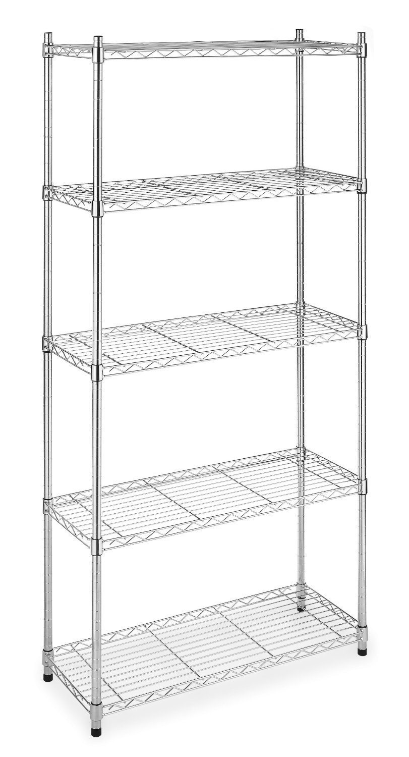 metal storage shelves. amazon.com: 5-shelf steel wire tier layer shelving 72\ metal storage shelves d