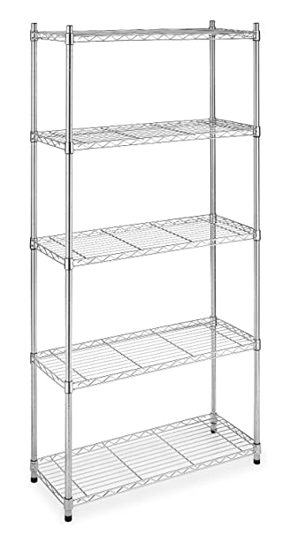 5 Shelf Home Style Chrome Steel Wire Shelving 36 By 14 By 72 Inch