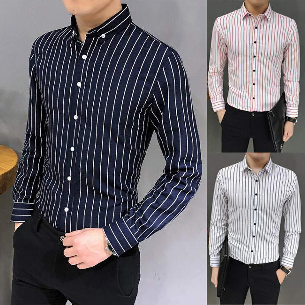 ADOSSAC Mens Casual Long Sleeve Dress Shirt Button Down Shirts,Mens Casual Lapel Stripe Long Sleeve Shirt