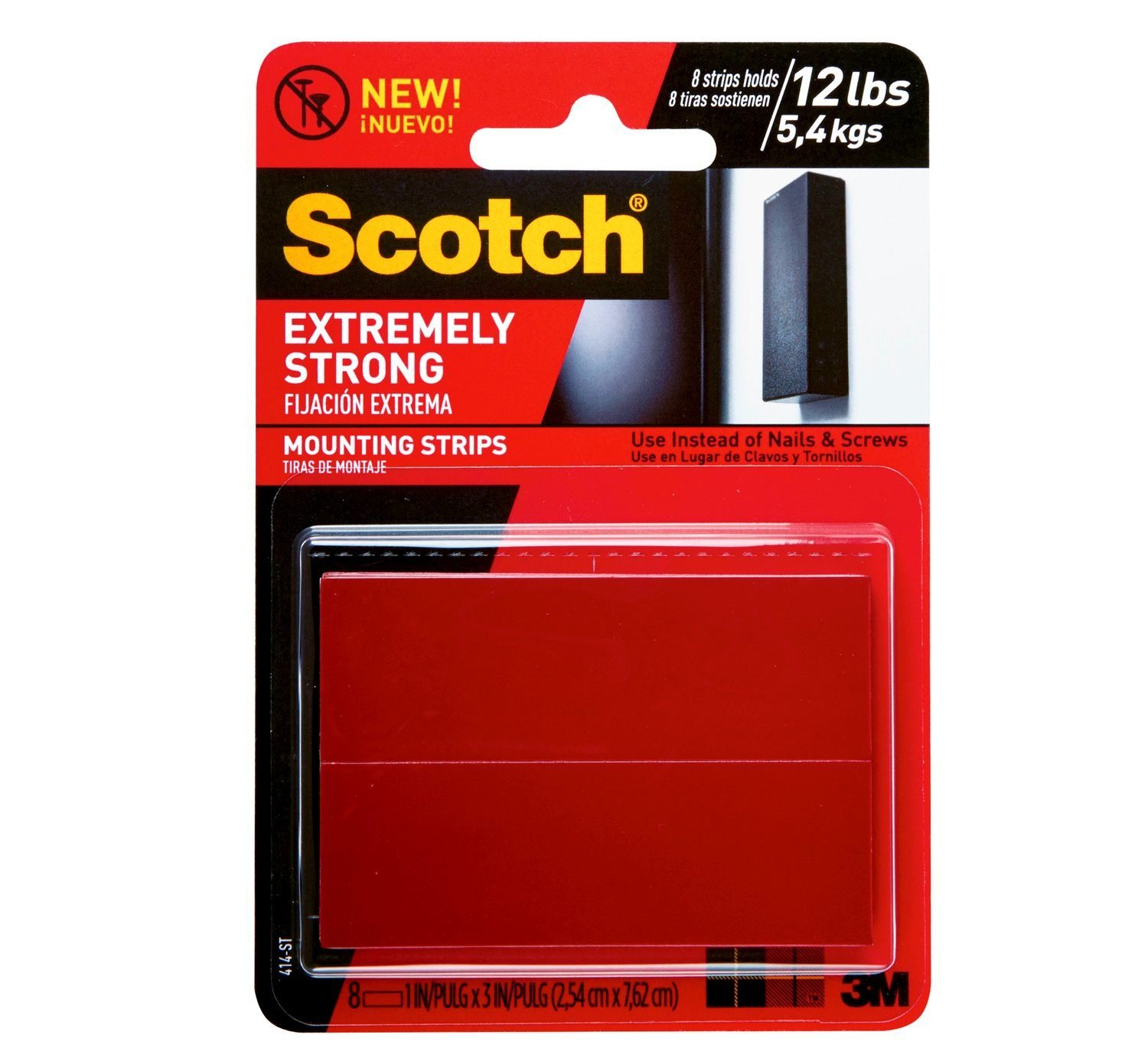 Scotch Brand 051141397252 Scotch Extremely Strong Mounting, 1 x 3-inches, Black, 8-Strips (414P-ST)