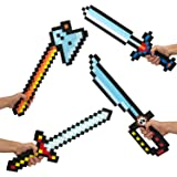 "BOLEY 8-Bit Pixel Diamond Foam Sword Set 24"" inch 4pk Weapons the Perfect Party Set Offering Hours of Pretend Play"