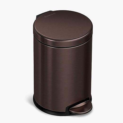 Amazon Com Simplehuman 4 5 Liter 1 2 Gallon Round Bathroom Step Trash Can Dark Bronze Stainless Steel Home Kitchen