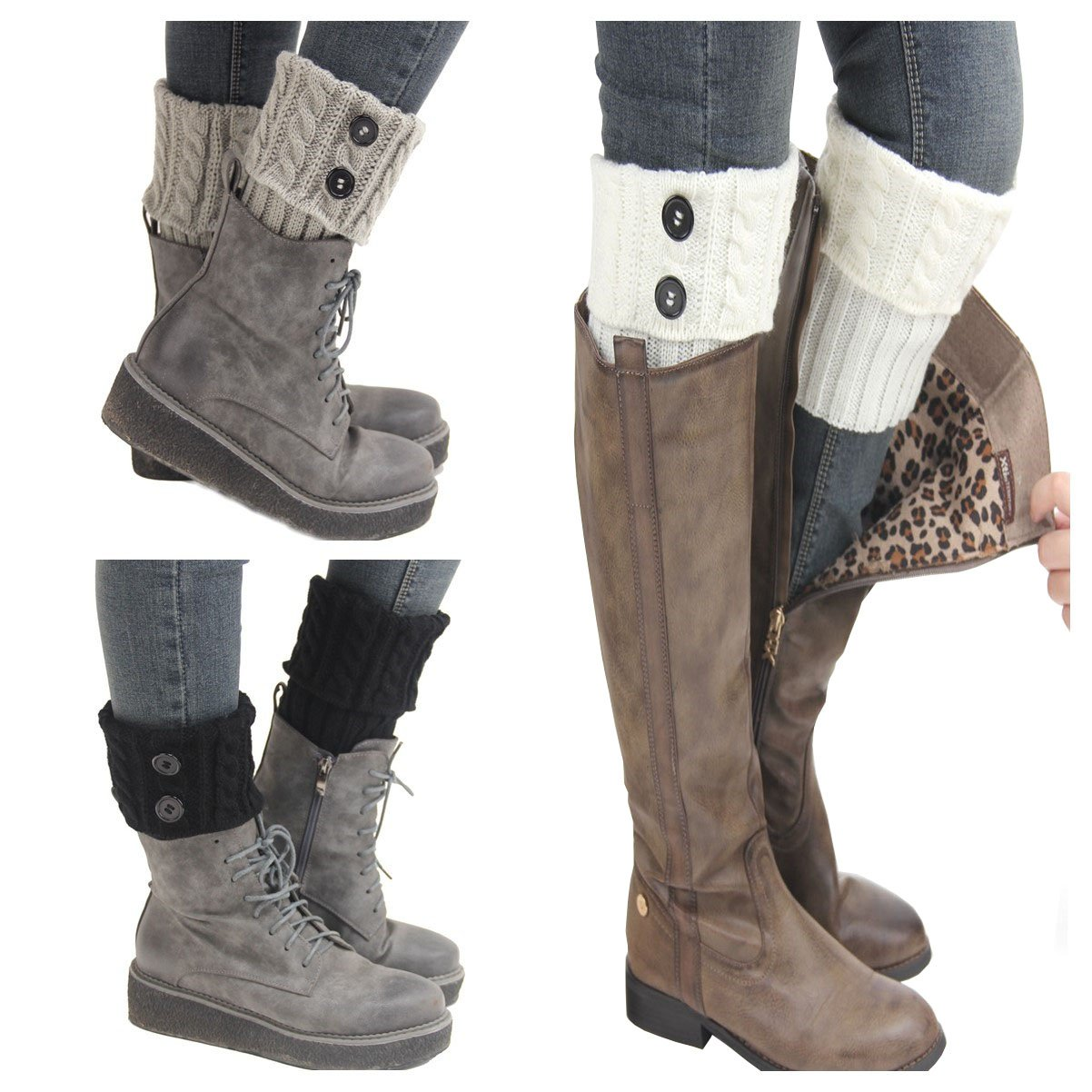 Santwo Women Winter Warm Crochet Knitted Boot Cuff Sock Short Leg Warmer 3 Pairs YF0063-1