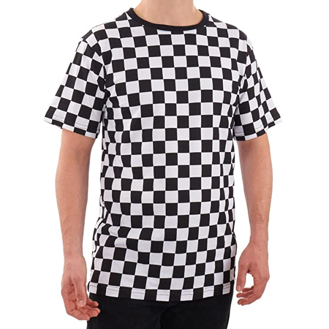 2278363d Amazon.com: Men's RAD 80's Checkered Shirt Black and White: Clothing