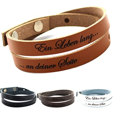 Modern und elegant in der Mode günstig kaufen auf Füßen Aufnahmen von area17 Gravur Lederarmband 50 cm Wickelarmband, inklusive Wunschtext