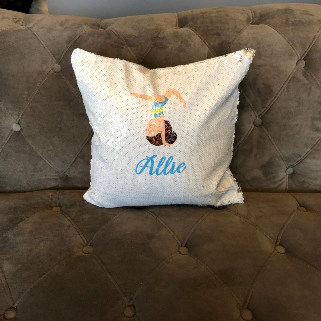gymnastics design with Name Flip Sequin Pillow Mermaid Sequin