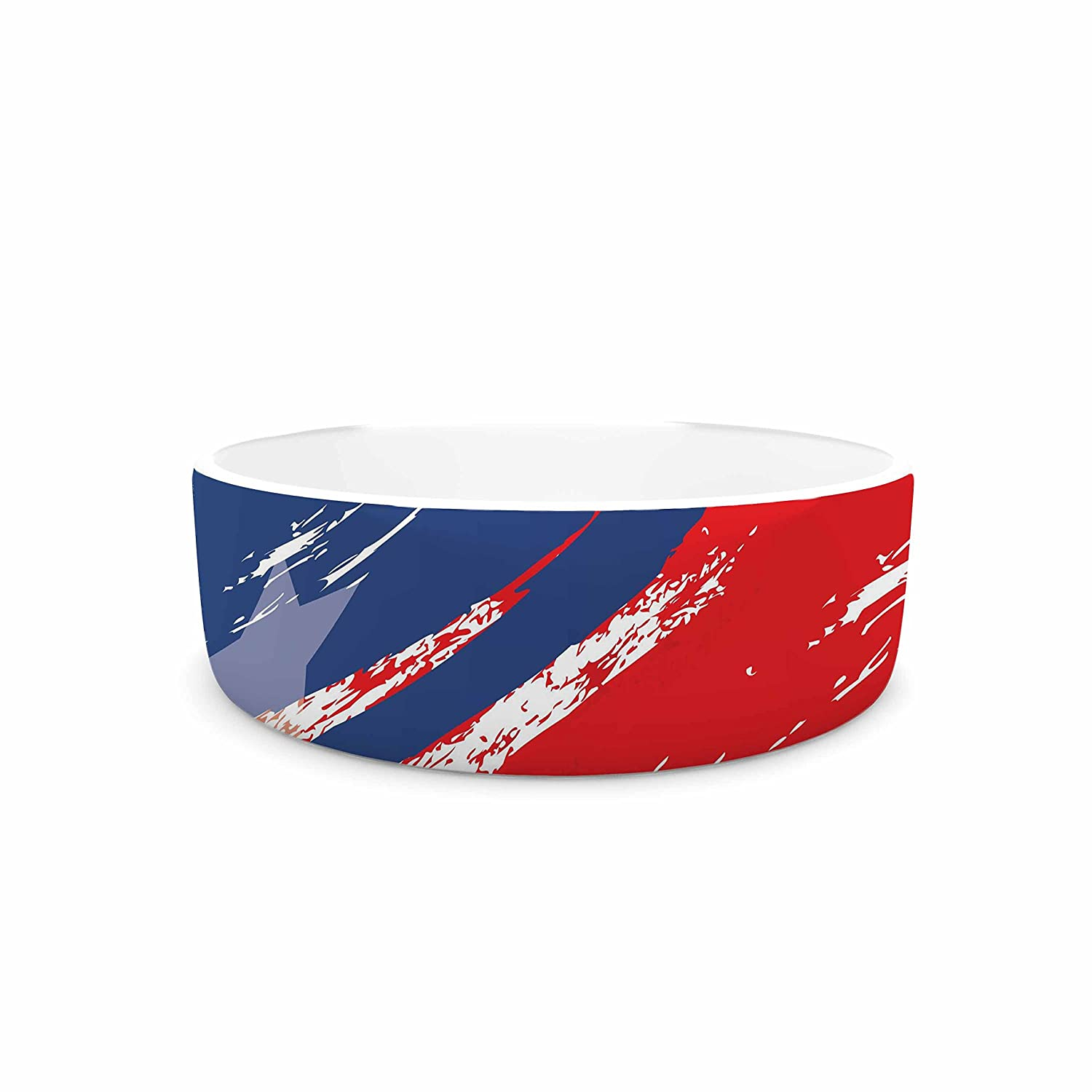 KESS InHouse NL Designs Red White bluee  Red White Pet Bowl, 7