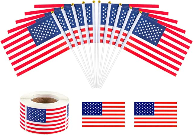 100Pcs USA Flag Mini US American Stick Flags 5x8 Inch Small American Hand Held Stick Flags Wooden Stick US National Flag for Parades World Cup Sport Festival Events Festival July 4th Decoration