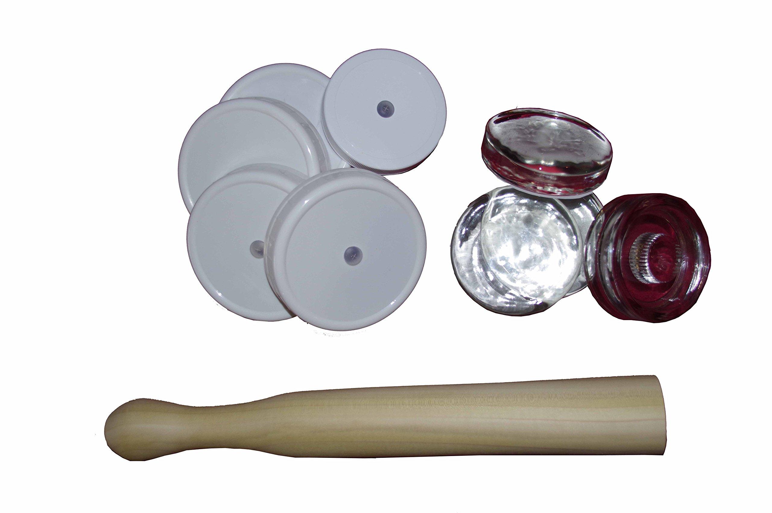 Fermentation Kit (1 sauerkraut tamper x 5 Airlocks x 4 Fermentation weights)