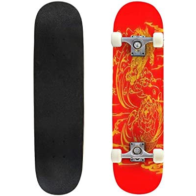 "Koi Fish and Chrysanthemum Background by Hand Drawing Art Highly Outdoor Skateboard 31""x8\"" Pro Complete Skate Board Cruiser 8 Layers Double Kick Concave Deck Maple Longboards for Youths Sports : Sports & Outdoors [5Bkhe1106926]"