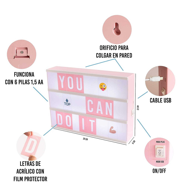 Cumplea/ños y Bodas Baby Shower Oficina Caja de Luz A4 Rosa con 105 Letras 50 Divertidos Emojis y USB Con Letras /Ñ y /Ç Cartel Luminoso LED Ideal para Decoraci/ón Vintage en Habitaci/ón