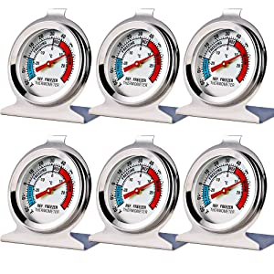 6 Pack Refrigerator Freezer Thermometer Large Dial Thermometer