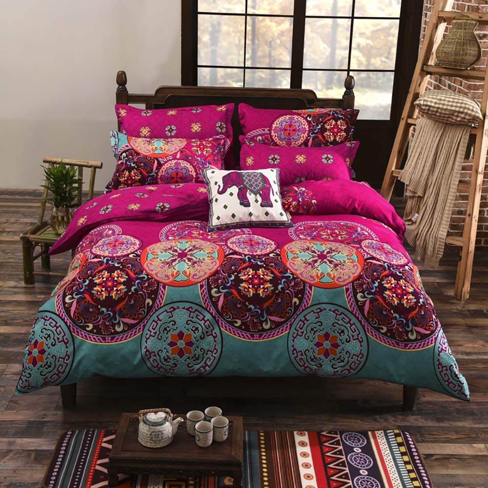 DasyFly 4PCS Bohemian Bedding Lightweight Microfiber Boho Duvet Cover Set Queen Size Rose Red Floral Bedding Mandala Duvet Cover with Zipper Closure